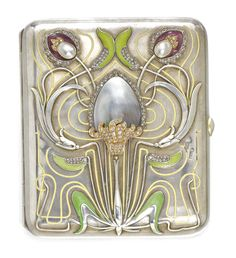 A JEWELLED AND ENAMELLED SILVER CIGARETTE CASE, BOLIN, WORKMASTER KONSTANTIN LINKE, MOSCOW, 1899-1908