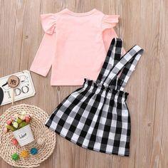 2019 Toddler Girls Lattice Strap Skirt+Long Sleeve T-Shirt Outfits – Shop Kids Wear Toddler Girl Outfits, Baby Girl Dresses, Toddler Dress, Baby Dress, Toddler Girls Clothes, Baby Girls, Midi Skirt Outfit, Skirt Outfits, Girl Doll Clothes