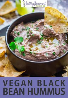 Vegan and gluten-free recipe for Black Bean Hummus. Flavored with coriander, fresh cilantro and lime. This is so good for a healthy snack or appetizer. Bring it to a Super Bowl party or serve it in a vegetarian sandwich. Best Party Appetizers, Easy Appetizer Recipes, Healthy Appetizers, Dip Recipes, Party Snacks, Easy Recipes, Dinner Recipes, Healthy Side Dishes, Good Healthy Recipes