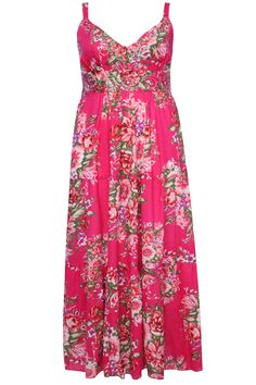 Pink Floral Print Tiered Cotton Maxi Dress With Sequin Detail plus size 16,18,20,22,24,26,28,30,32
