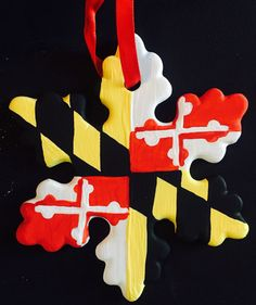 Maryland Flag Christmas Ornament by ChesapeakeBoutiqueMD on Etsy