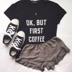 Brandy Melville Ok, But First Coffee Top Super cute easy tee to throw on. Super soft. Trendy and hipster tshirt. From John Galt Brandy Melville Tops Tees - Short Sleeve