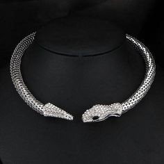 Snake necklace silver plated necklace Leash necklace Fashion Necklace boho necklace snake leash metal necklace