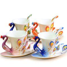 Peacock teacups