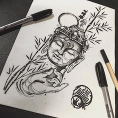 Buda, budist, buda tattoo, black work, sketch