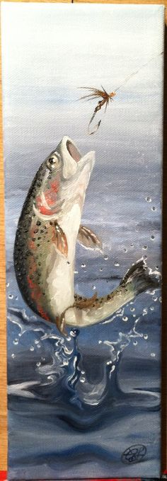 Original oil painting 'Rainbow Trout' 4x12 on by Arterlee on Etsy, $195.00