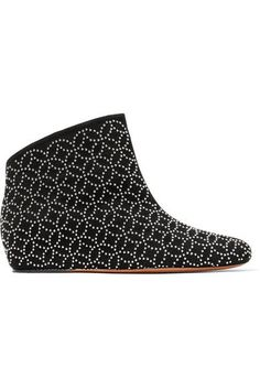 ALAÏA | Studded suede wedge ankle boots #Shoes #Boots #Ankle #ALAÏA