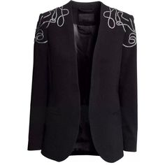 LUCLUC Black Long Sleeved Embroidered Blazer (100 BRL) ❤ liked on Polyvore featuring outerwear, jackets, blazers, lucluc, blazer, clothes - outerwear, embroidered blazer, embroidery jackets, long sleeve blazer and embroidered jacket