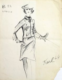 Karl Lagerfeld design for Tiziani, dated 1964