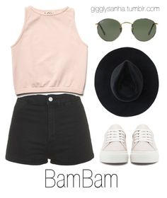 """Casual LA Date // BamBam"" by suga-infires ❤ liked on Polyvore featuring Topshop, Free People, Ryan Roche and Ray-Ban"