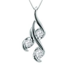 This beautiful Sirena diamond pendant features 3 diamonds totalling one tenth carat total weight set into 10K White gold