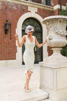 Unique Vintage 1920s Style Ivory Beaded Sleeveless Hawkins Flapper Dress