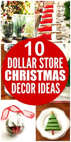 These 10 Dollar Store Christmas Decor Ideas are THE BEST! I'm so glad I found these AWESOME ideas! Now I have some cute and affordable ways to decorate my home! Definitely repinning!