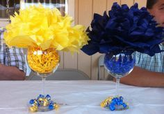 Can be done in Silver and Blue graduation decorations