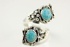 Native American Navajo .925 Sterling Silver Turquoise Adjustable Ring Size 8.5