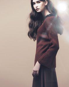 優雅一字領喇叭袖針織上衣|女裝|MEIER.Q