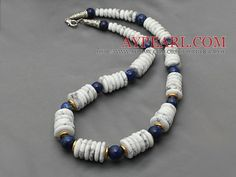 Assorted Disc Shape Howlite and Lapis Necklace with Metal Spacer Beads