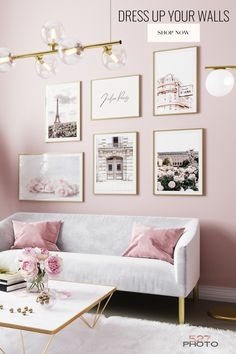 Sophisticated, feminine, high quality wall art prints and gallery wall print sets at an affordable price. Shop now! Pink Living Room, Accent Wall Bedroom, Pink Living Room Decor, Pastel Home Decor, Pink Bedroom Walls, Home Decor, Room Inspiration, Apartment Decor, Room Decor