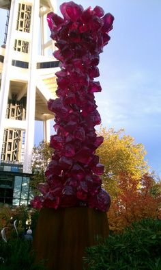 """pink """"rock candy"""" sculpture at Chihuly Garden in Seattle"""