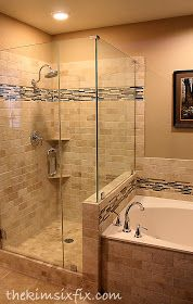 Love the dark tile used in the shower also used in tub backsplash. Great idea to coordinate the bathroom.  www.pughproperties.com
