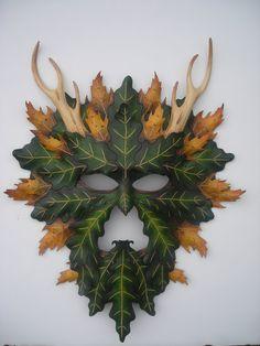 Leather Greenman Oak King masquerade mask
