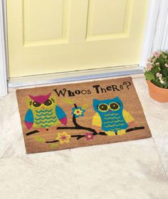 New Owls Whoos There Novelty Coir Doormat Floor Rug Mat Patio Entry Home Decor #Novelty