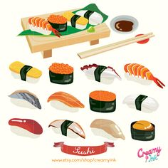 The sushi digital clip art are perfect for Japanese restaurant menu design or even your scrapbook design. #clipart #vector #design See more at creamyink.etsy.com