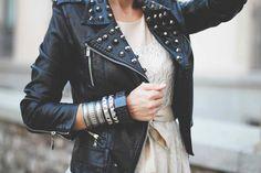 Studded leather jackets.