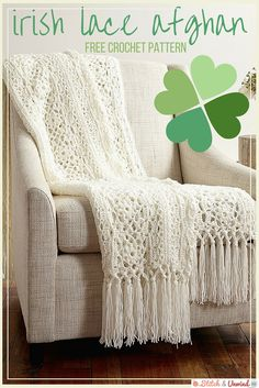 Free Pattern Friday: Irish Lace Afghan from Yarnspirations - Stitch and Unwind - - This free crochet afghan pattern will add an unbelievable elegance to your room. Crochet up the delicate Irish lace afghan for yourself or someone you love. Crochet Afghans, Motifs Afghans, Afghan Crochet Patterns, Knitting Patterns, Crochet Blankets, Baby Afghans, Free Knitting, Crochet Cushions, Crochet Blocks