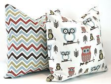 PAIR of Decorative Pillow Covers in Owls and Chevron For 20 Inch Pillows