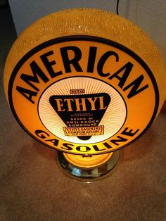 Amazing Yellow Ripple American Gasoline Globe!