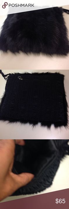 Mink clutch Authentic mink fur clutch & muff  bag. Fur on front. Gather polyester material on rear with zip pocket. Both sides have silk lined inserts for hand warming. Minor oxidation on fur in one seam. One silk strap. Elegant & dazzling Bags Clutches & Wristlets
