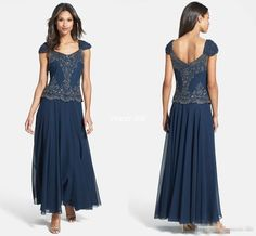 Dark Navy Plus Size Mother Of The Bride Dresses Cap Sleeves Beading Lace Ankle Length 2016 Vintage Mother Formal Evening Gown For Wedding Knee Length Mother Of The Bride Dresses Mother In Law Dresses From Whiteone, $111.91| Dhgate.Com