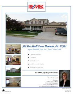 Open this Sunday in Hanover.  Beautiful 3 bedroom home.  Come and visit me.  Only $236,900.
