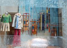 Anthropologie sleds Christmas 2008 store window NYC Rockefeller Center