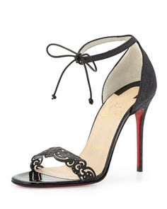 Valnina Cutout Ankle-Tie Red Sole Sandal, Black by Christian Louboutin at Bergdorf Goodman.