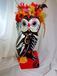 SALE!!!!!!! Dia De Los Muertos OWL Sugar Skull Day of the Dead NOW 79.00 OR BEST OFFER!  Hand painted Sugar Skull Owl!