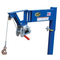 Vestil Manual Lifter Jib allows for better operation and use in tight spaces. Includes pre-drilled mounting holes for convenient installation. Welding Cart, Welding Shop, Jet Woodworking Tools, Woodworking Projects Diy, Metal Projects, Welding Projects, Hand Crank Winch, Garage Lift, Homemade Machine