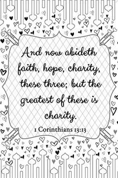 1 Corinthians 13:13 Love Adult Coloring Page by FIDbyCourtney