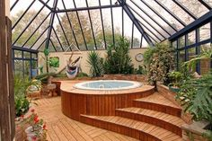 Indoor Garden Sunroom (of course with jacuzzi!- Indoor Garden Sunroom (of course with hot tub! Jacuzzi Room, Indoor Jacuzzi, Indoor Pools, Backyard Pools, Pool Decks, Pool Landscaping, Orangerie Extension, Hot Tub Room, Greenhouse Plans