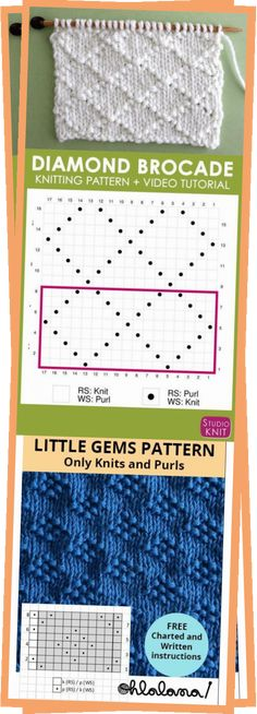 Knitting Blogs, Knitting Charts, Easy Knitting, Knitting Patterns, Crochet Patterns, Knitting Squares, Learn How To Knit, Stitch Design, Free Crochet