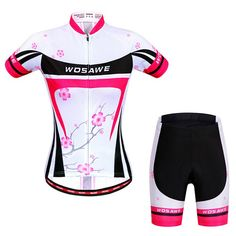 Stylish Plum Blossom Pattern Short Sleeve Jersey + Shorts Outdoor Cycling Suits