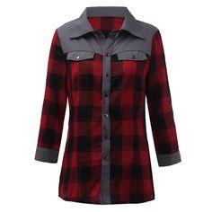 Big Fall Spring Ladies Female Casual Cotton Long Sleeve Fashion Plaid Shirt Women Slim Grid Blouse Tops Blusas Mujer
