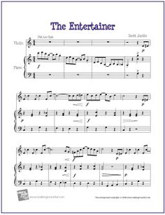 The Entertainer by Scott Joplin | Free Sheet Music for Violin - http://makingmusicfun.net/htm/f_printit_free_printable_sheet_music/the_entertainer_violin.htm