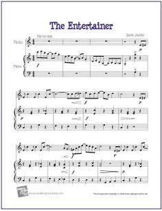 The Entertainer by Scott Joplin | Free Sheet Music for Violin - http://makingmusicfun.net/htm/f_printit_free_printable_sheet_music/the_entertainer_violin.htm