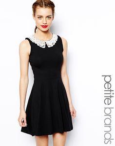 Petite Crochet Collar Skater Dress