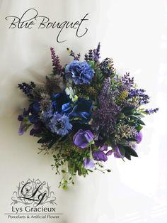 札幌ポーセラーツ・フラワー・クレイLys Gracieux〜リスグラシュ〜, blue&purple bouquet, artificial Flower, anemone, lavender, home decoration, Sapporo, Japan