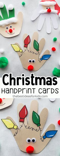 Christmas Handprint Cards - Christmas Crafts for Kids. Love how cute these handmade Christmas cards are! Kids will love making these this Christmas season. Perfect for Preschool, Kindergarten and older kids too! #bestideasforkids #christmas #christmascraft #diy #craft #kidscraft #christmascard #kidsactivities #preschool #kindergarten #toddlers