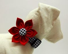 Dog Collar & Flower Set  Black and White by PacificPooch on Etsy