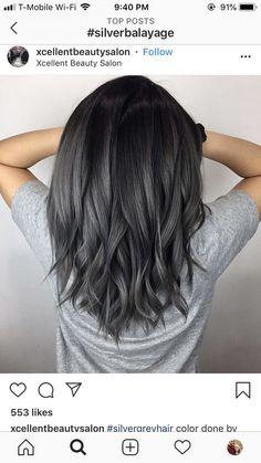 21 Stunning Examples of Caramel Balayage Highlights for 2019 - Style My Hairs Charcoal Hair, Hair Color And Cut, Dark Grey Hair Color, Brown To Grey Ombre, Black To Grey Ombre Hair, Dark Hair With Highlights, Silver Hair, Balayage Hair, Haircolor